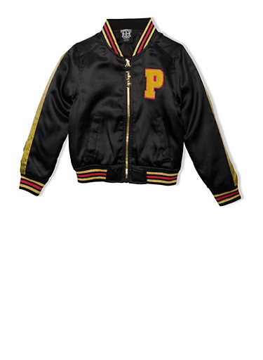 Girls 7-16 Pelle Pelle Bomber Jacket with Embroidered Logo,BLACK,large