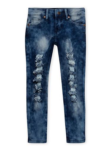 Girls 4-6x Distressed Skinny Jeans,DENIM,large