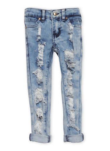 Girls 4-6x Destroyed Skinny Jeans,LIGHT WASH,large