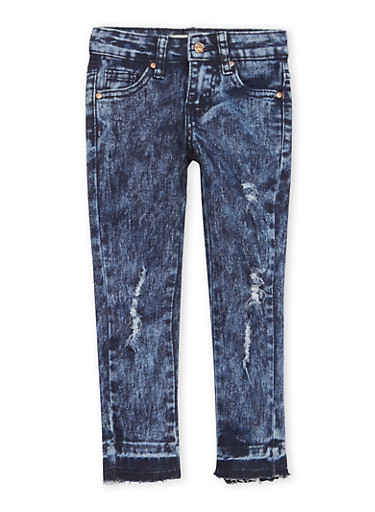 Girls 4-6x Distressed Raw Hem Jeans,DENIM,large