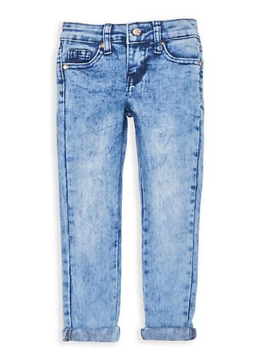 Girls 4-6x Cuffed Acid Wash Skinny Jeans,DENIM,large