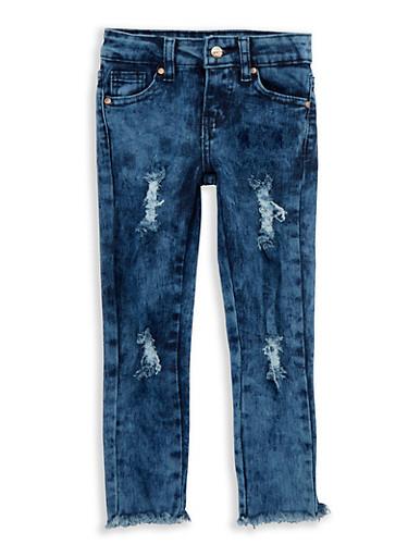 Girls 4-6x Frayed Hem Jeans,DENIM,large