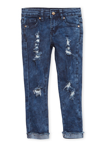 Girls 4-6x Distressed Cuff Hem Jeans,DENIM,large