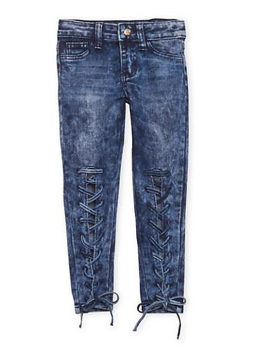 Girls 4-6x Lace Up Acid Wash Jeans,DENIM,large