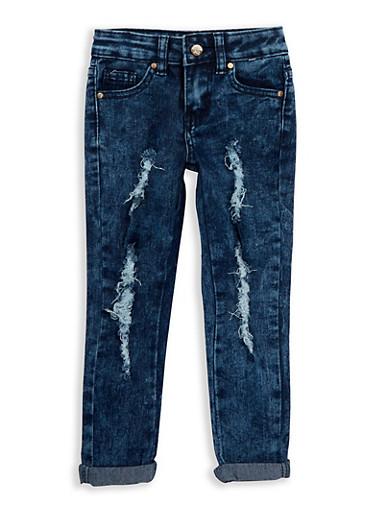 Girls 4-6x Dark Wash Distressed Jeans,DENIM,large