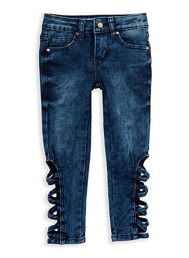 Girls 4-6x Criss Cross Side Jeans,DENIM,large