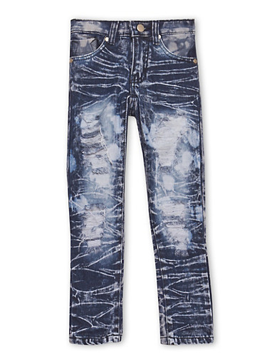 Girls 4-6x Distressed Skinny Jeans in Acid Wash,DENIM,large