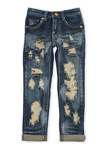 Girls 4-6x Skinny Jeans with Distressing,DENIM,large