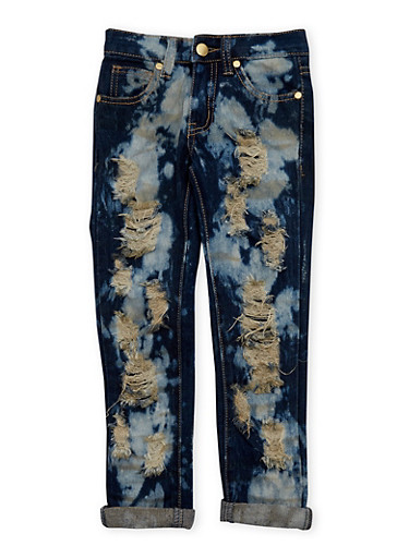 Girls 4-6x Distressed Jeans with Bleach Wash,DENIM,large