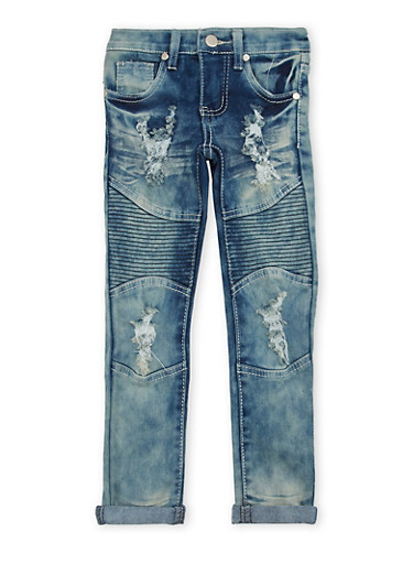Girls 4-6x Moto Skinny Jeans,DENIM,large