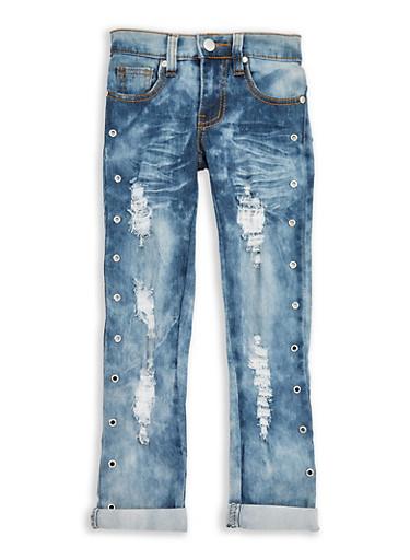 Girls 4-6x Frayed Grommet Jeans,LIGHT WASH,large