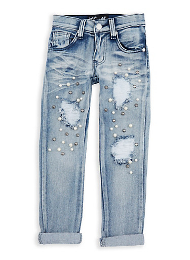 Girls 4-6x Faux Pearl Studded Jeans,DENIM,large
