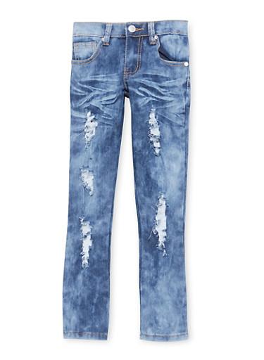 Girls 4-6x Distressed Acid Wash Skinny Jeans,LIGHT WASH,large