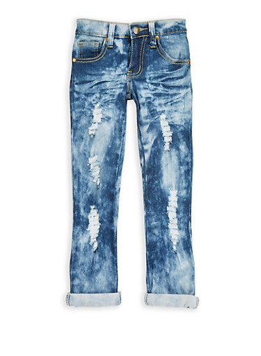 Girls 4-6x Distressed Whisker Wash Jeans,MEDIUM WASH,large