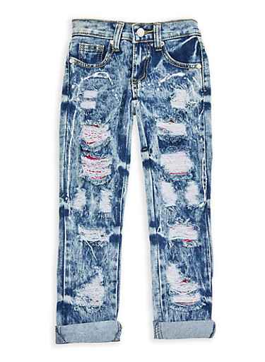 Girls 4-6x Ripped Patch and Repair Jeans,MEDIUM WASH,large