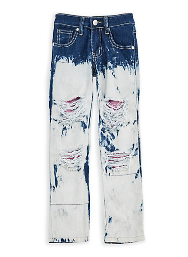 Girls 4-6x Two Tone Ripped Mesh Insert Jeans,DENIM,large