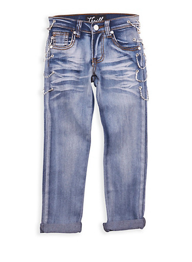 Girls 4-6x Light Wash Rhinestone Chain Link Jeans,LIGHT WASH,large