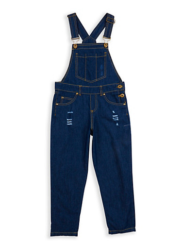 Girls 7-16 Distressed Denim Overalls,DK BLUE DNM,large