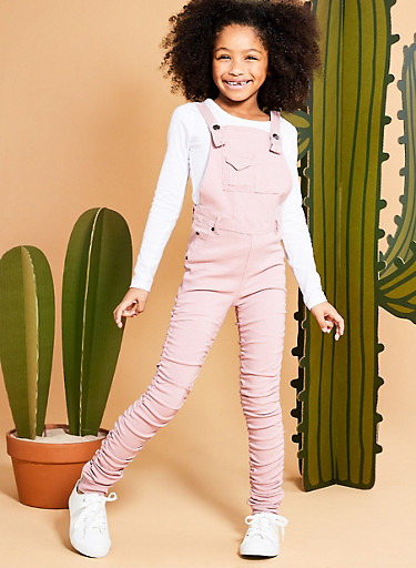 Girls 7-16 Ruched Stretch Overalls,MISTY ROSE,large