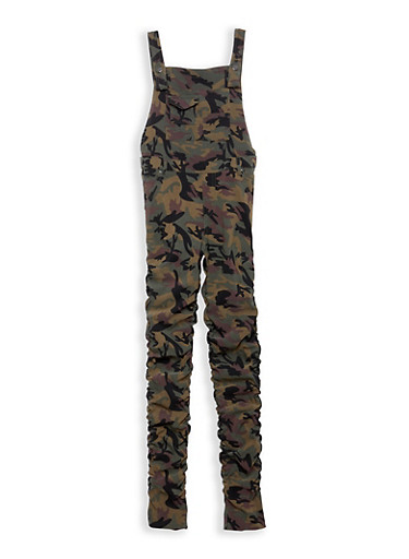 Girls 7-16 Camo Print Ruched Stretch Overalls,CAMOUFLAGE,large