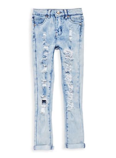 Girls 7-16 Light Wash Destroyed Jeans,LIGHT WASH,large