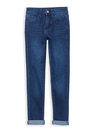 Girls 7-16 Cuffed Jeans,BLACK/BLUE,large