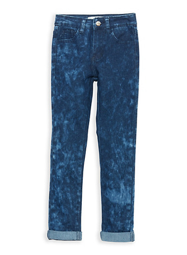 Girls 7-16 Dark Acid Wash Jeans,DARK WASH,large