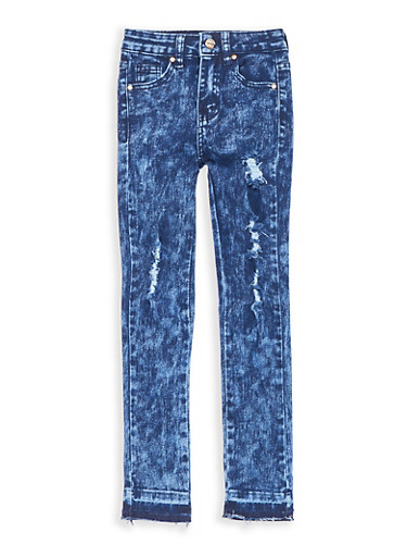 Girls 7-16 Distressed Acid Wash Skinny Jeans,DENIM,large