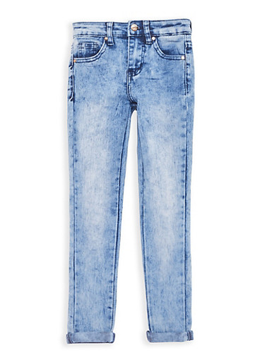 Girls 7-16 Cuffed Acid Wash Skinny Jeans,DENIM,large