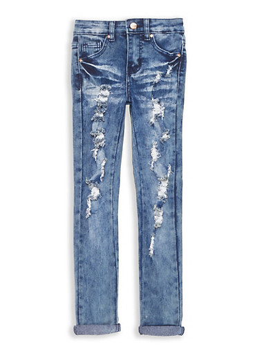 Girls 7-16 Cuffed Antique Wash Skinny Jeans,DENIM,large