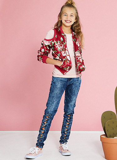 Girls 7-16 Front Lace Up Skinny Jeans,DENIM,large