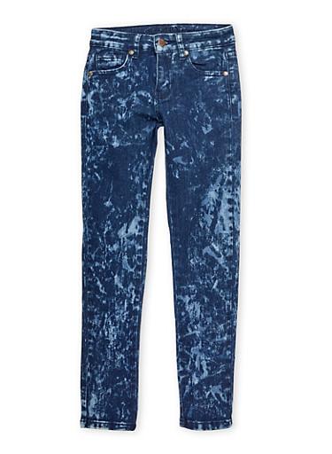 Girls 7-16 Bleached Wash Skinny Jeans,DENIM,large