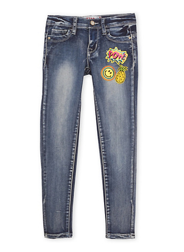 Girls 7-14 Skinny Jeans with Patches,DENIM,large