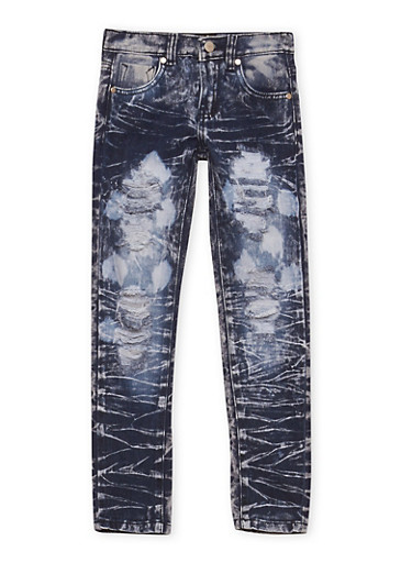 Girls 7-16 Distressed Skinny Jeans in Acid Wash,DENIM,large