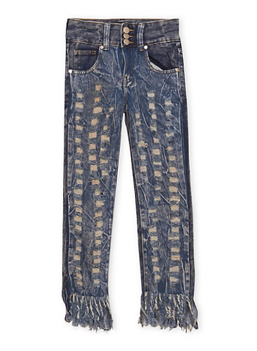 Girls 7-16 Faded Fringe Hem Skinny Jeans with Ripped Details,DENIM,large