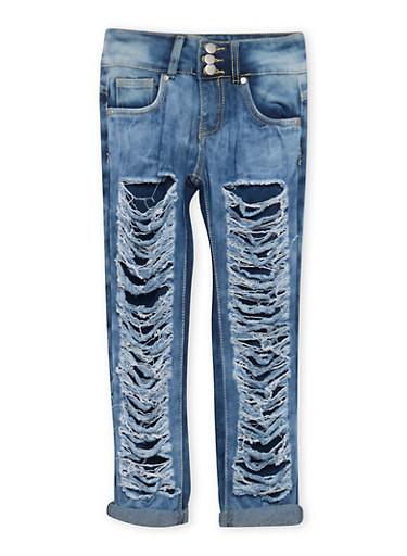 Girls 7-16 Distressed Jeans with Three Buttons,DENIM,large
