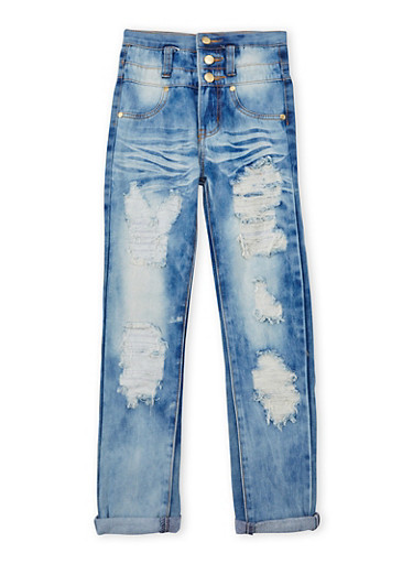 Girls 7-16 Ripped High Waisted Skinny Jeans,DENIM,large
