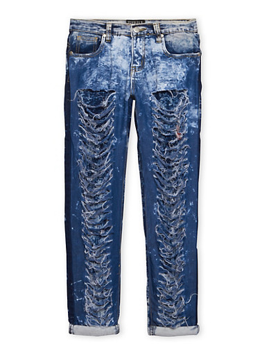 Girls 7-16 Shredded Acid Wash Skinny Jeans,DENIM,large
