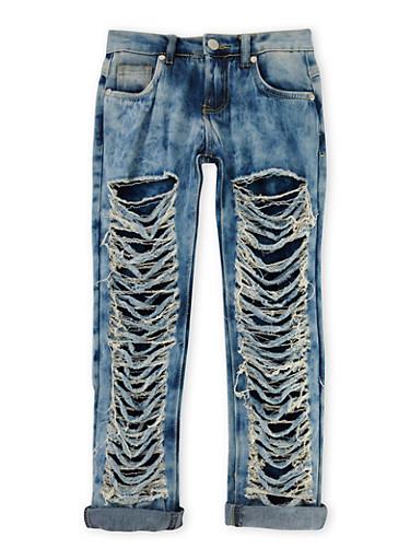 Girls 7-16 Distressed Skinny Jeans,DENIM,large