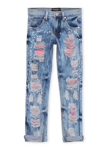 Girls 7-16 Acid Wash Rip and Repair Splatter Jeans,DENIM,large