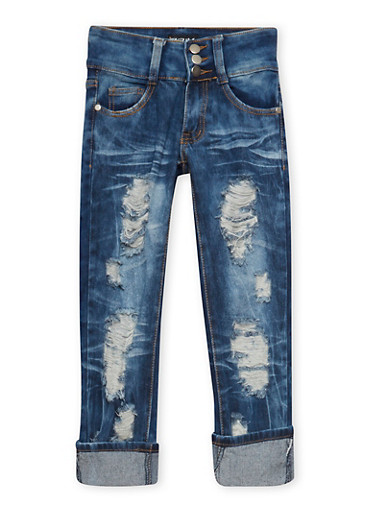 Girls 7-16 Distressed Skinny Jeans in Faded Wash,DENIM,large