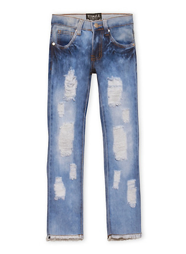 Girls 7-16 Skinny Jeans with Distressing,DENIM,large