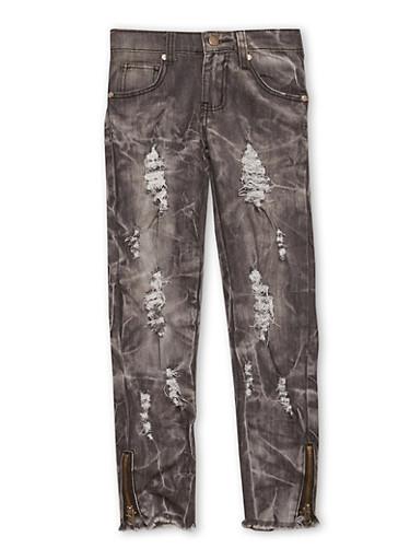 Girls 7-16 Ripped Skinny Jeans in Smoke Acid Wash,DENIM,large
