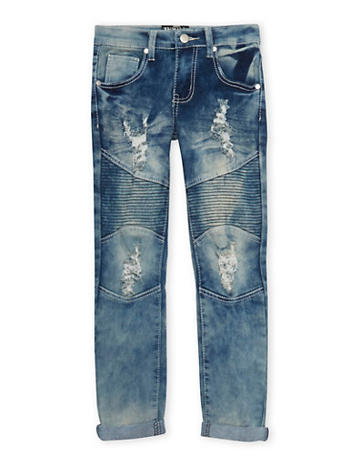 Girls 7-16 Skinny Moto Jeans,DENIM,large