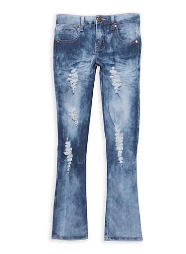 Girls 7-16 Distressed Whisker Wash Jeans,DARK WASH,large