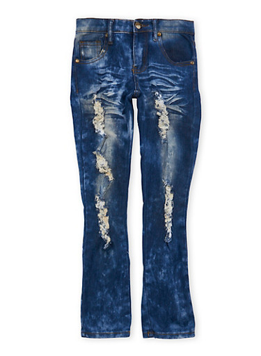 Girls 7-16 Distressed Antique Wash Jeans,DARK WASH,large