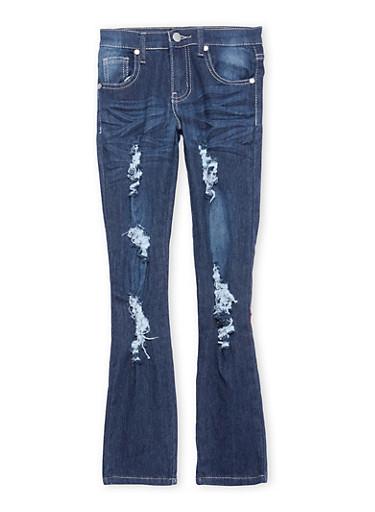 Girls 7-16 Destroyed Dark Wash Skinny Jeans,DARK WASH,large