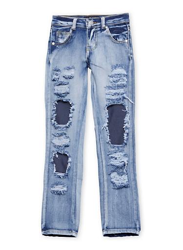 Girls 7-16 Rip and Repair Frayed Jeans,DENIM,large
