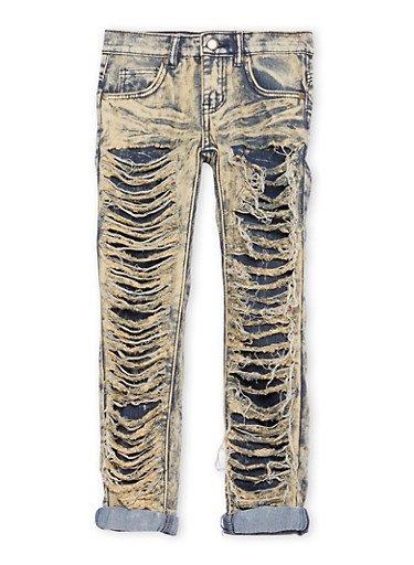 Girls 7-16 Acid Wash Rip and Repair Jeans,LIGHT WASH,large