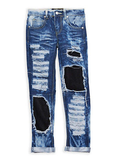 Girls 7-16 Ripped Patch and Repair Jeans,LIGHT WASH,large
